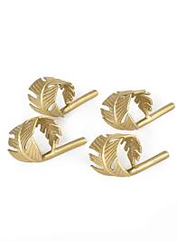 Gold Leaf Napkin Ring, Set of 4