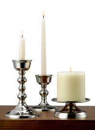 Nickel Pillar Holder & Candlesticks