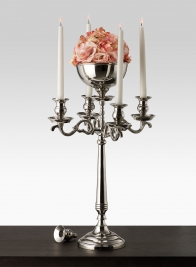 23 1/2in Nickel Candelabra With Bowl