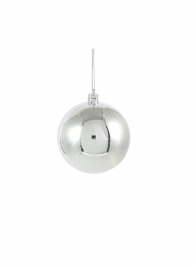 80mm Shiny Silver Plastic Ornament Balls, Set of 6