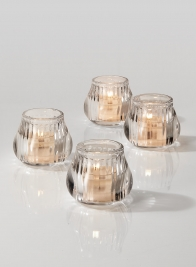 Clear Glass Bulb Votive Holder, Set of 4