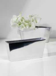 9 1/2in Polished Silver Aluminum Rectangular Vase