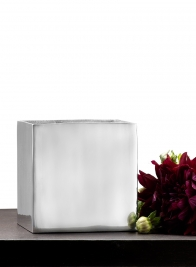 6in Square Aluminum Vase