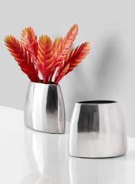 polished aluminum almond modern vase
