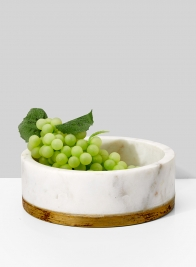 6in White Marble Bowl With Brass Ring