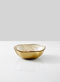 5in Gold & Ivory Speckled Enamel Bowl