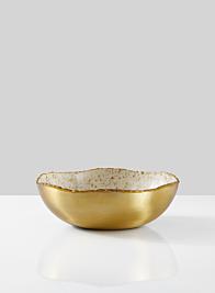 8 1/2in Gold & Ivory Speckled Enamel Bowl