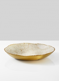 11in Gold & Ivory Speckled Enamel Tray