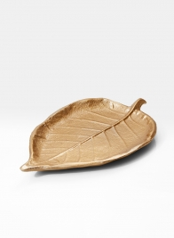 7in Gold Leaf-Shaped Tray, Set of 4