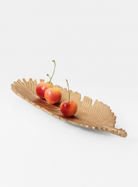 12in Gold Leaf-Shaped Tray