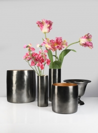 6in Nairobi Small Black Nickel Vase