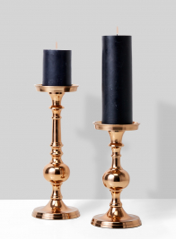 light copper pillar candle holders with black candles
