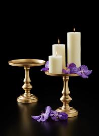 10in Gold Pedestal Pillar Plate