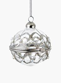 pearl glitter keepsake christmas tree ornament