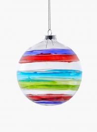 striped multicolor glass christmas ornament