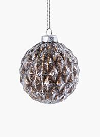 bronze and silver diamond glass ornament