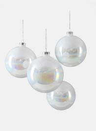 4in Iridescent White Glass Ball Ornament, Set of 4