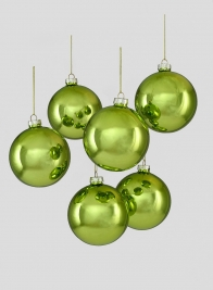 4in Shiny Light Green Glass Ball Ornament, Set of 6
