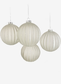 4in Light Blue Frost Pleated Glass Ornament Ball, Set of 4