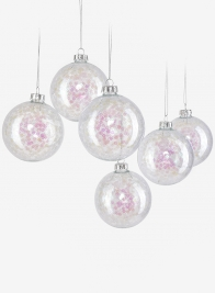 3in Iridescent Snowflake Glass Ornament Ball, Set of 6