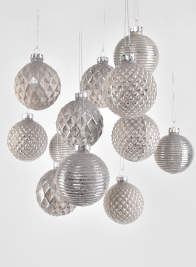 1 1/2in Assorted  Pearl Glass Ornaments, Set of 12