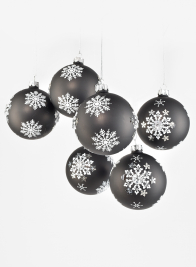 3in Snowflake Black Glass Ornament Ball, Set of 6