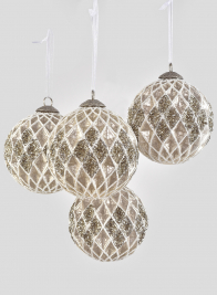 4in Clear Glass Ball Ornamnent, Set of 4