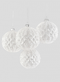 4in Glitter Vine Mercury Glass Ornament Ball, Set of 4