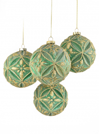 4in Green & Gold Glitter Baroque Ornament Ball, Set of 4