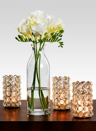 2 x 4 1/2in Crystal And Nickel Tea Light Holder
