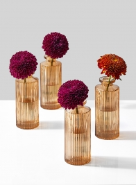Amber Pleated Glass Bottle Bud Vase, Set of 4