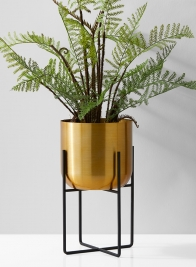 7in x 13in Gold Pot with Stand
