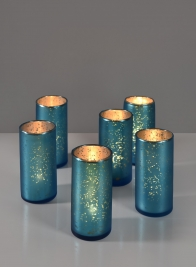 2 x 4in H Antique Frosted Turquoise Cylinder, Set of 6