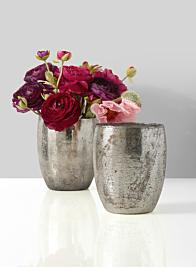 ranunculus bouquet in silver glass vase centerpiece