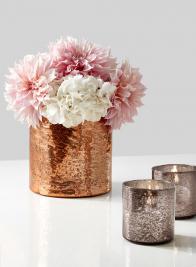 8 x 8in Antique Orange Glass Vase