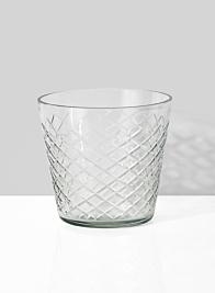 crystal look diamond cut round glass vase