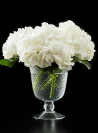 Diamond cut glass pedestal vase