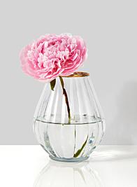 glass balloon vase with peonies