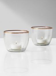 gold rim glass bowl tea light holder