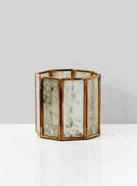 4in Gold Octagon Mercury Glass Tea Light Holder