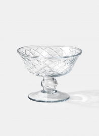 Diamond Cut Glass Pedestal Bowl, 4 1/2in D x 3 1/2in H