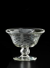 diamond cut glass pedestal vase