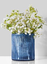 5 x 6in Antique Blue Ripple Glass Vase