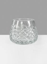 Diamond Cut Glass Roly-Poly Vase