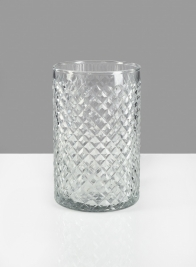 4 X 6in  Diamond Cut Glass Round Vase