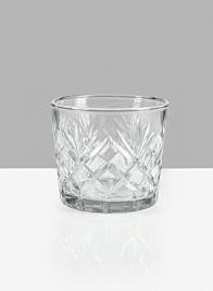 5 X 4 1/2in Diamond Cut Glass Round Vase