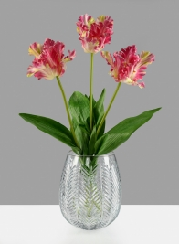 9in H Palm Etched Glass Balloon Vase