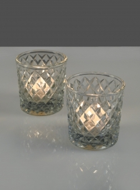 3in Diamond Glass Votive, Set of 2