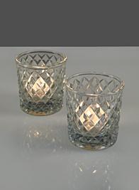 3in Diamond Glass Votive, Set of 2