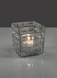 3 1/4in Square Cut Cube Glass Vase